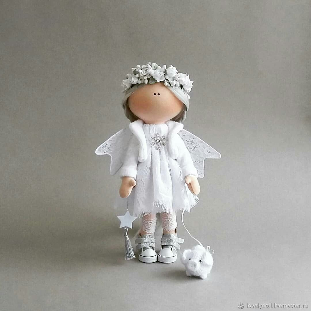 Angel platinum, and pig. Textile doll and a symbol of 2019, Dolls, Kiev,  Фото №1