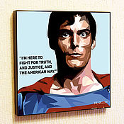 Подарки к праздникам handmade. Livemaster - original item Painting Superman Pop Art. Handmade.
