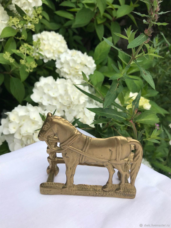 Antique bronze napkin holder, 'Horse', France, Vintage Souvenirs, Arnhem,  Фото №1