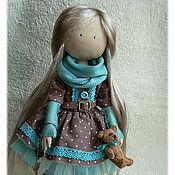Куклы и игрушки ручной работы. Ярмарка Мастеров - ручная работа Девочка с мишкой, мята в молочном шоколаде. Handmade.