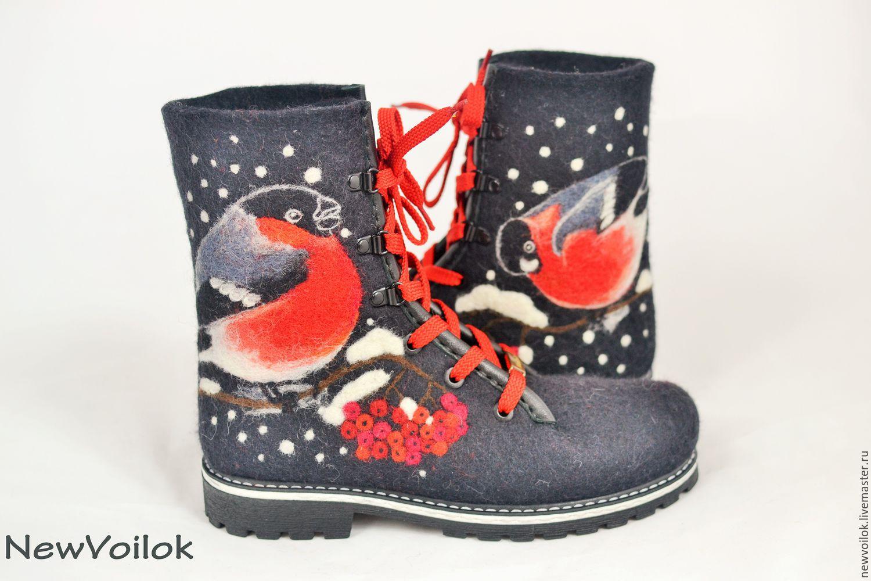 Обувь ручной работы. Ярмарка мастеров. Валяные ботинки Снегири. Женская обувь. NewVoilok.