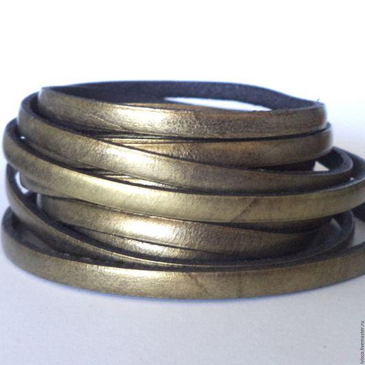 Для украшений ручной работы. Ярмарка Мастеров - ручная работа. Купить Кожаный шнур 5х2мм бронзовый. Handmade. Кожаный шнур