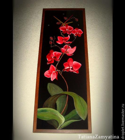 """Часы для дома ручной работы. Ярмарка Мастеров - ручная работа. Купить Картина - часы """"Красная орхидея"""". Handmade. Черный"""