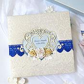 """Свадебный салон ручной работы. Ярмарка Мастеров - ручная работа Свадебный фотоальбом """"""""Luxurious Blue"""", подарок на свадьбу. Handmade."""