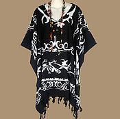 Одежда ручной работы. Ярмарка Мастеров - ручная работа Кельтский узор черная туника платье пончо, батик, свободный летний. Handmade.