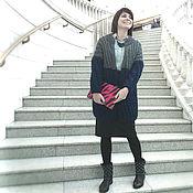 Одежда ручной работы. Ярмарка Мастеров - ручная работа Вязаное пальто с объёмным узором серо-синее. Handmade.