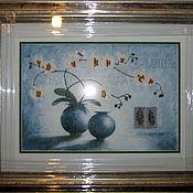 """Картины и панно ручной работы. Ярмарка Мастеров - ручная работа Картина в смешанной технике """"Белые цветы"""". Handmade."""