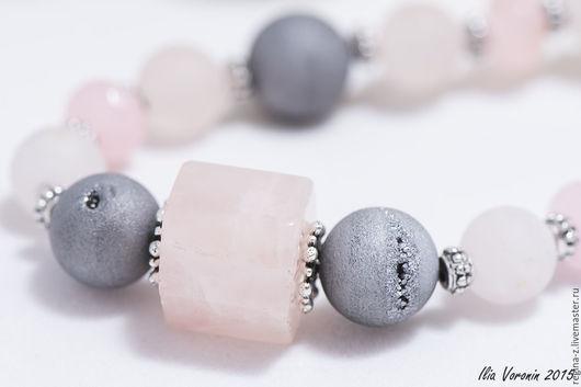 """Колье, бусы ручной работы. Ярмарка Мастеров - ручная работа. Купить """"Юнона"""" бусы из натуральных камней, розовый кварц, агат. Handmade."""