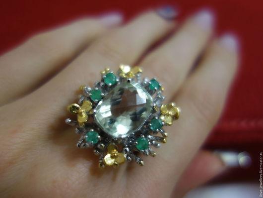 """Кольца ручной работы. Ярмарка Мастеров - ручная работа. Купить """"Casimiro""""-роскошное коктейльное кольцо с зеленым аметистом и изумруда. Handmade."""