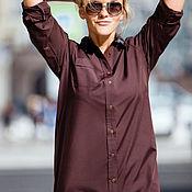 Одежда ручной работы. Ярмарка Мастеров - ручная работа Платье-рубашка «Шоколад». Handmade.