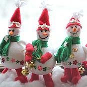 Мягкие игрушки ручной работы. Ярмарка Мастеров - ручная работа Снеговик текстильный. Handmade.