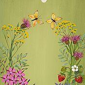 """Для дома и интерьера ручной работы. Ярмарка Мастеров - ручная работа Доска разделочная роспись""""Разнотравье""""зеленый,розовый,желтый,лето. Handmade."""