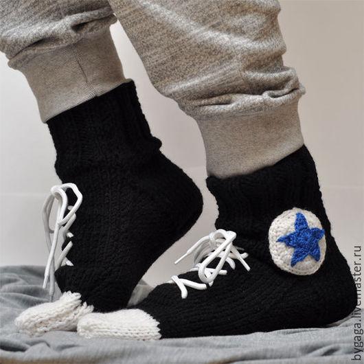 Носки, Чулки ручной работы. Ярмарка Мастеров - ручная работа. Купить Вязанные носки кеды Конверс Черные. Handmade. Черный