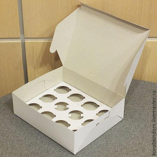 Упаковка ручной работы. Ярмарка Мастеров - ручная работа. Купить Коробка 24х19,5х7,5 см белая с вкладышем на 12 миникапкейков. Handmade.