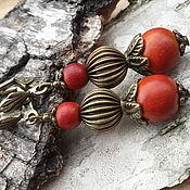 Серьги с красным деревом