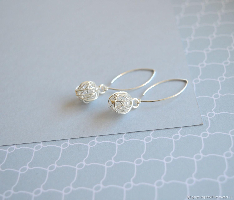 Silver earrings Balls on long hooks, Earrings, St. Petersburg,  Фото №1