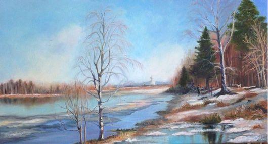 Картина маслом, пейзаж `Март`. Картина маслом на холсте на подрамнике в раме. Автор Наталья Ива