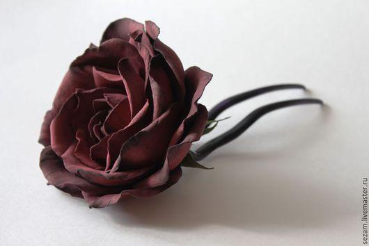 Заколки ручной работы. Ярмарка Мастеров - ручная работа. Купить Винная роза. Фоамиран. Handmade. Бордовый, шпилька для волос, темный
