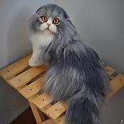 Куклы и игрушки ручной работы. Ярмарка Мастеров - ручная работа Кася 2 вислоухий шотландский реалистичный кот. Handmade.