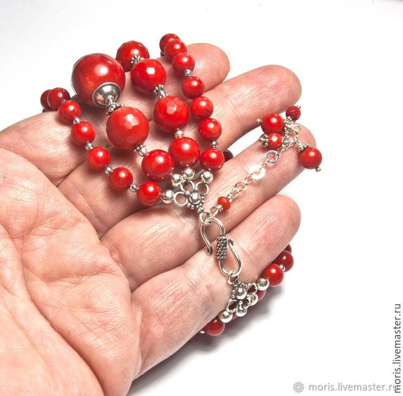 """Коралловый браслет из серебра """"Каринна"""" красные кораллы"""