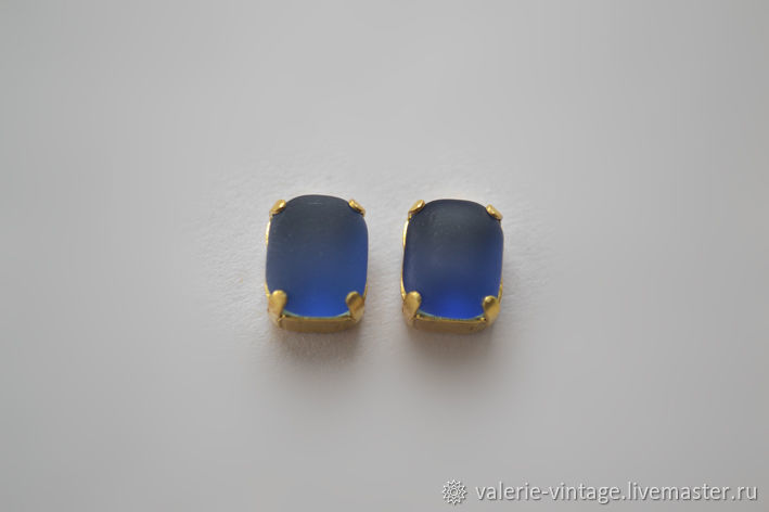 Vintage rhinestones 10h8 mm color Blue Matt, Crystals, Moscow,  Фото №1