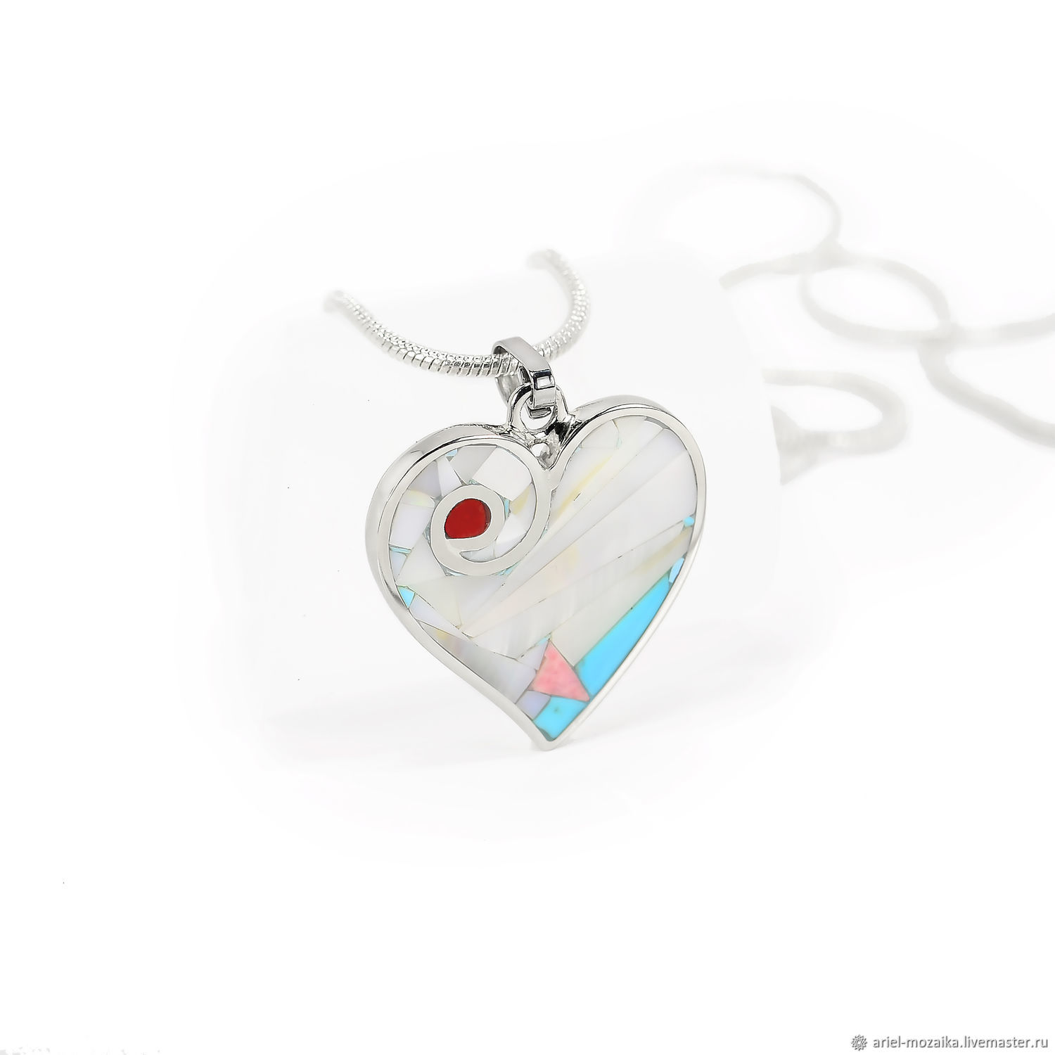 Heart Pendant. Pendant with mother of pearl, turquoise, rhodonite and coral, Pendant, Moscow,  Фото №1