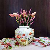 Вазы ручной работы. Ярмарка Мастеров - ручная работа Фарфоровая ваза «Маки ромашки васильки». Handmade.