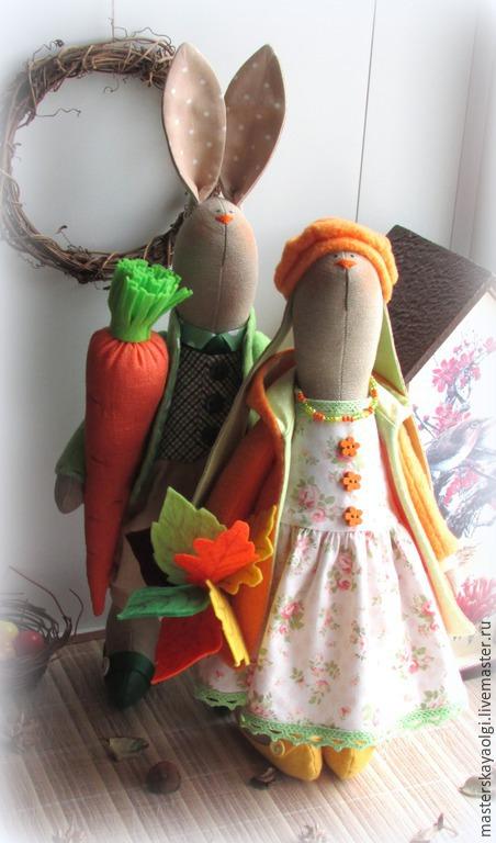 Куклы Тильды ручной работы. Ярмарка Мастеров - ручная работа. Купить Парочка осенних заек. Handmade. Зайцы тильда
