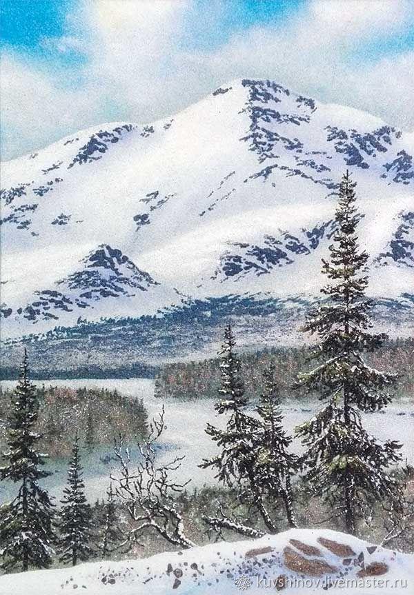 Горная долина. Картина из натурального камня, горный зимний пейзаж, Картины, Апатиты,  Фото №1