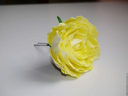 роза, шпилька для волос, украшение для волос, роза из фоамирана, жёлтый, лето, выпускной, фотосессия