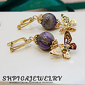 Украшения handmade. Livemaster - original item Earrings with natural charoite pendants and butterflies