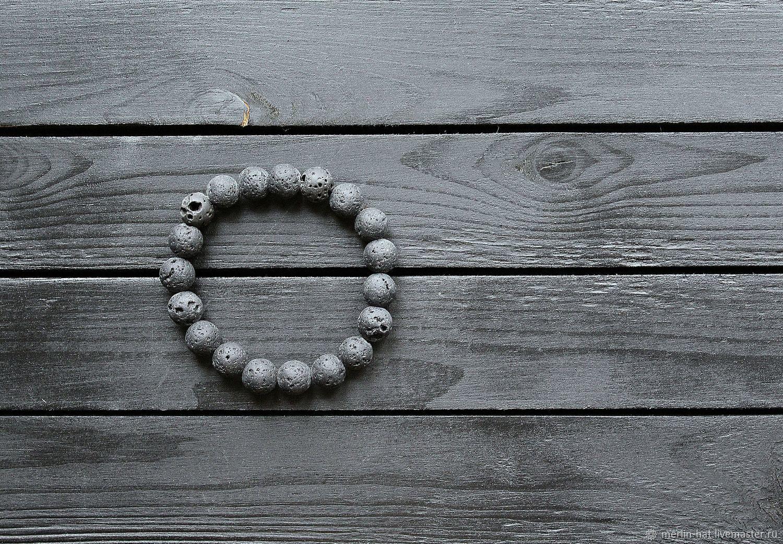 Bracelet from lava stone 'Volcano' 12 mm, Bead bracelet, Tambov,  Фото №1