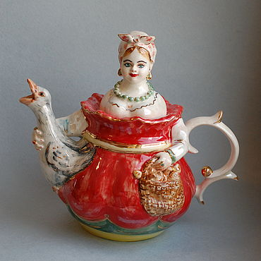 Tableware handmade. Livemaster - original item The merchant`s wife with a goose. Kettle pot porcelain.. Handmade.