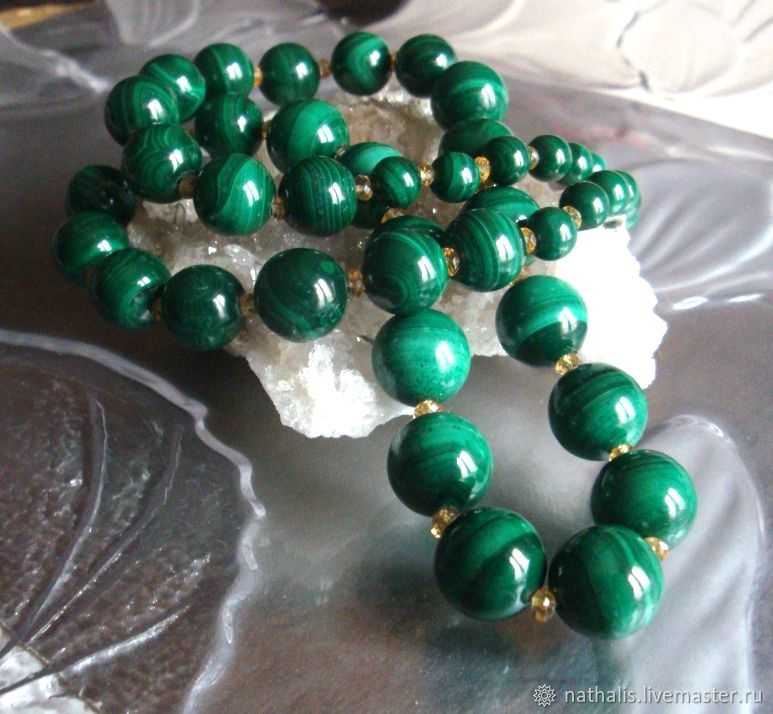 Genuine Malachite statement necklace, Necklace, Moscow,  Фото №1