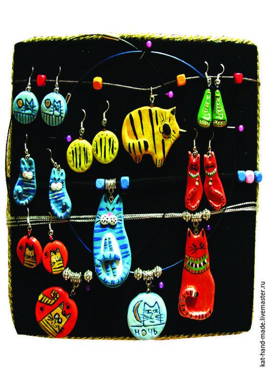Комплекты украшений ручной работы. Ярмарка Мастеров - ручная работа. Купить котовасия. Handmade. Комбинированный, котики, вощеный шнур, ночь