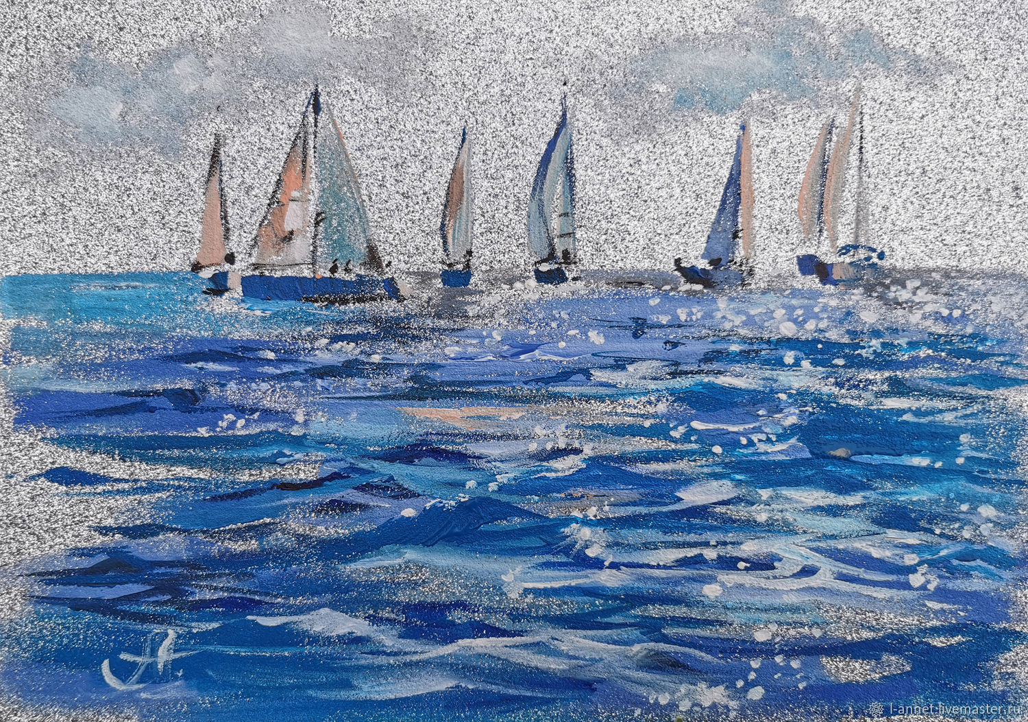 Yachts silver-painting with the sea, Pictures, Moscow,  Фото №1