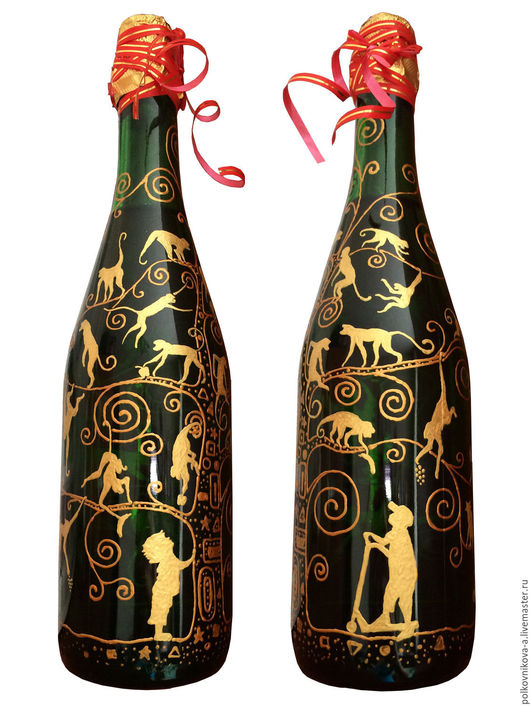 """Персональные подарки ручной работы. Ярмарка Мастеров - ручная работа. Купить """"Дети и дары обезьян"""", бутылка задекорированная. Handmade. Ребенок"""