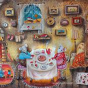 Картины ручной работы. Ярмарка Мастеров - ручная работа Картина золотая осень с мышками. Handmade.