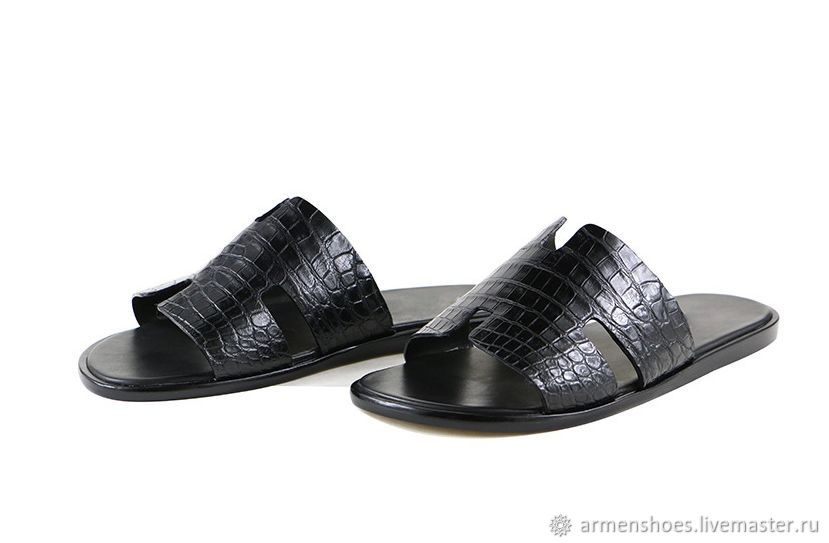 Men's slippers made of genuine crocodile leather, custom made!, Slippers, Tosno,  Фото №1