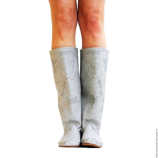 Обувь ручной работы. Ярмарка Мастеров - ручная работа. Купить Летние перфорированные сапоги PIZZO FIORE /серые/. Handmade. Серый