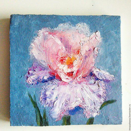 """Картины цветов ручной работы. Ярмарка Мастеров - ручная работа. Купить Картина маслом """"Ирис"""". Handmade. Синий, ирисы"""