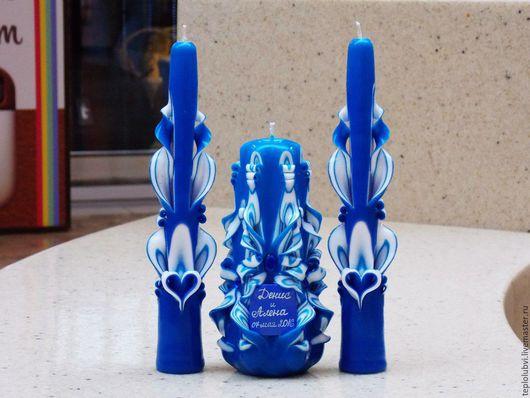Свадебные аксессуары ручной работы. Ярмарка Мастеров - ручная работа. Купить Свадебные свечи резные - синий белый - с индивидуальной надписью -. Handmade.