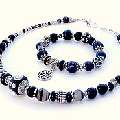 Украшения handmade. Livemaster - original item Set bracelet and necklace with black agate. Handmade.