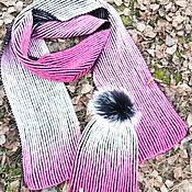 Аксессуары handmade. Livemaster - original item Set Pink Zebra (scarf hat with pompom). Handmade.
