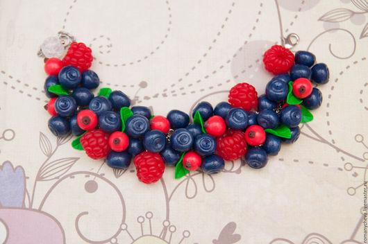 Браслеты ручной работы. Ярмарка Мастеров - ручная работа. Купить Браслет с ягодами малины, черники и красной смородины. Handmade. Комбинированный