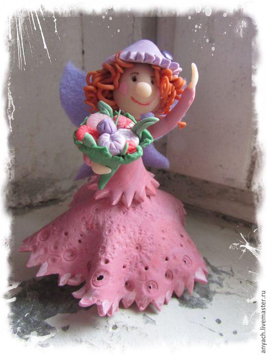 """Статуэтки ручной работы. Ярмарка Мастеров - ручная работа. Купить Фигурка """"Цветочная фея"""". Handmade. Розовый, букет, шляпка, цветы"""