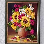 Картины и панно handmade. Livemaster - original item Paintings Embroidered with ribbons Summer bouquet in a vase. Handmade.