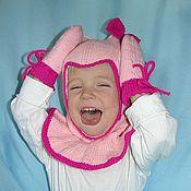 Работы для детей, ручной работы. Ярмарка Мастеров - ручная работа Детский вязаный шлем и варежки двойные. Handmade.