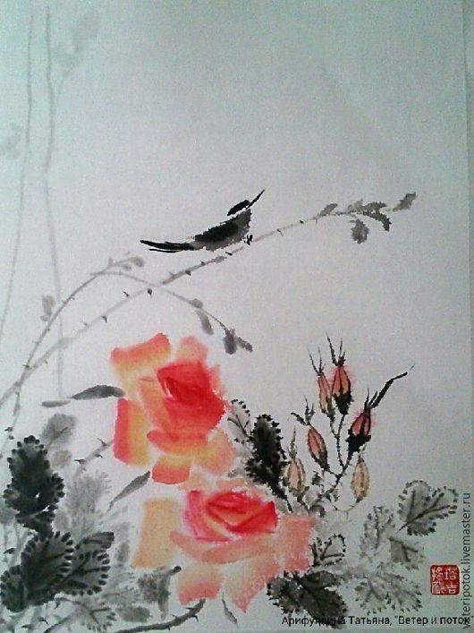 Картины цветов ручной работы. Ярмарка Мастеров - ручная работа. Купить картина на рисовой бумаге Соловей и розы. Handmade.