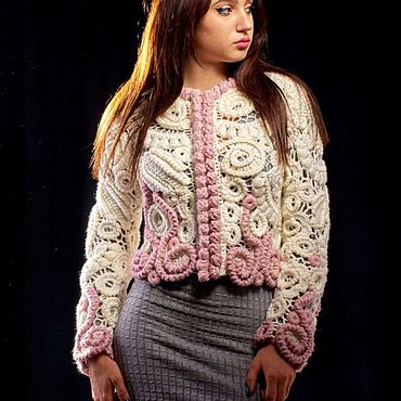 Одежда ручной работы. Ярмарка Мастеров - ручная работа Жакет вязаный ажурный. Handmade.